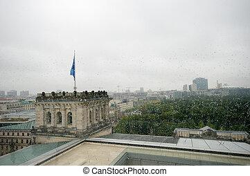panoramische ansicht, von, berlin, in, a, regnerischer tag