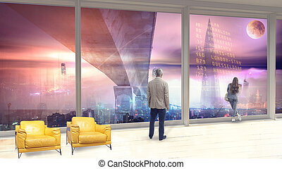 panoramische ansicht, von, der, fenster, zu, der, zukunftsidee, landschaftsbild, von, der, nacht, stadt