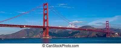 panoramische ansicht, von, der, goldene torbrücke, in, san francisco, kalifornien