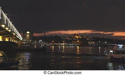 panoramische ansicht, von, istanbul, cityscape, mit,...