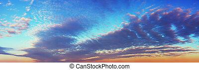 panoramische ansicht, von, sonnenuntergang