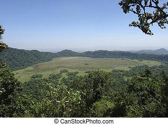 panoramische mening, op, arusha nationaal park