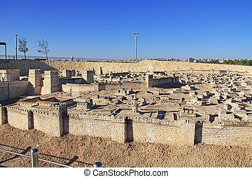 panoramisk udsigter, i, den, model, i, ancient, jerusalem