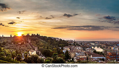 panoramiske, solnedgang, ind, florence