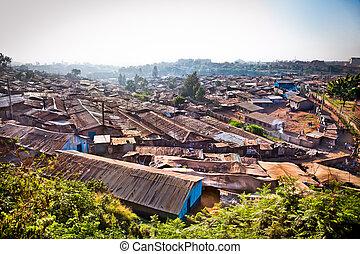 panoriamic, nairobi, taudis, kenya., kibera, vue