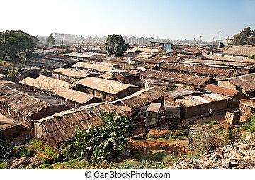 Panoriamic view of Kibera slums in Nairobi, Kenya. The...