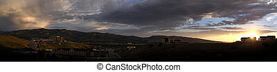 panormaic, de, pocatello, idaho, em, pôr do sol