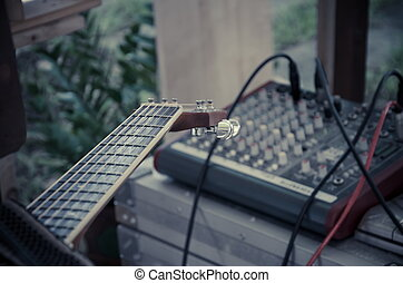 panowanie, do góry, mikser, gitara, zamknięcie, fretboard