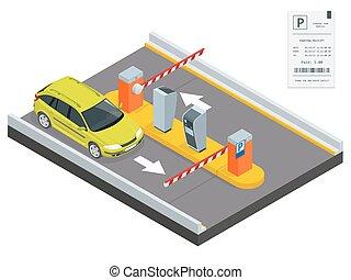 panowanie, isometric, bariera, powierzchnia, operatory, concept., fee., wejście, installed, dostęp, koszt, wyjście, wpłata, parking, stacja, brama, bilet, narzędzia, ręka, maszyny