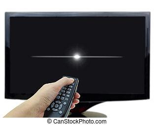 panowanie, oddalony, telewizja, ręka, czarnoskóry, wystawa, 3d