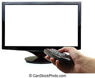 panowanie, oddalony, telewizja, ręka, czysty, wystawa, 3d