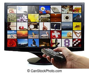 panowanie, oddalony, telewizja, ręka, fotografie, dzierżawa, mądry