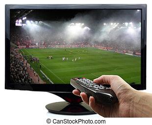 panowanie, oddalony, tv osłaniają, piłka nożna, ręka, mecz