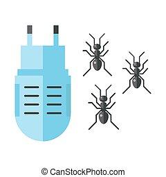 panowanie, płaski, służba, ekspert, ikony, gadzina, tępiciel, mrówka, wyposażenie, owad, wektor, plaga, dom, thrips, illustration.