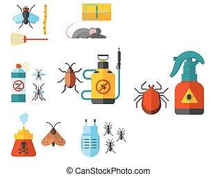 panowanie, płaski, służba, ekspert, ikony, gadzina, tępiciel, wyposażenie, owad, wektor, plaga, dom, thrips, illustration.