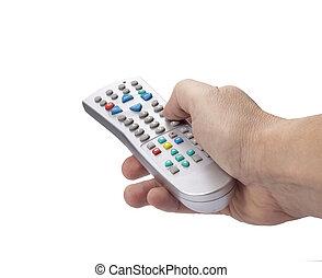 panowanie, telewizja, cyfrowy, oddalony, ręka
