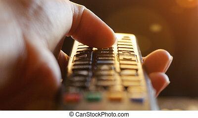 panowanie, telewizyjny odległy, migotać, babski, do góry, ręka, kanały, zachód słońca, skutki, czas, zamknięcie, wymiana, lense