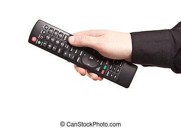 panowanie, tv odległy, odizolowany, ręka