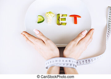 panowanie, wstawiając, pojęcie, strata, ciężar, żywienie, concept., text., dieta, albo, widelec, taśma, tło, dieta, poprawny, miejsce, biały, centymetr, zdrowie