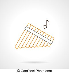 Panpipes melody flat line vector icon