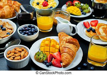 panquecas, armando, suco, tabela, fresco, pequeno almoço, bagas, flocos, croissants