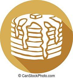 panqueques, con, mantequilla, y, jarabe, icono