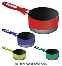 pans against white