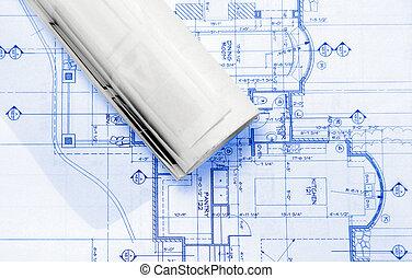 pans - blueprints on table ,
