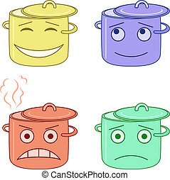 Set of the vector pans smilies symbolising various human emotions