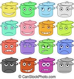 Set of pans smilies symbolising various human emotions