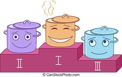 Vector, cartoon: kitchen pans sportsmans stand on a podium