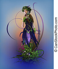 Pansie, 3d CG - 3d computer graphics of a fairy with pansies
