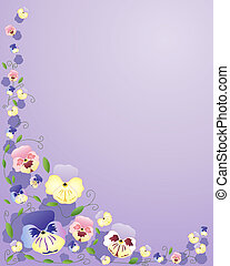 pansies - an illustration of different colored pansy flowers...