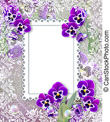 Pansies and openwork frame - Old grunge background with...