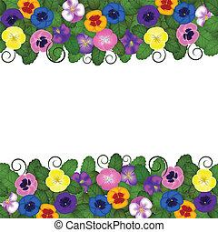 pansies horizontal seamless border