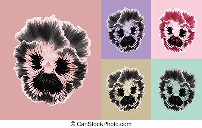 Pansies flower set