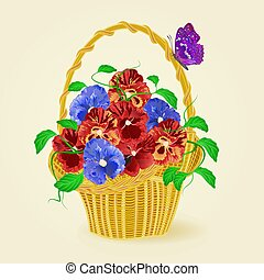 Pansies in a basket with butterfly vector.eps