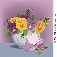 Pansies in a pot and greetings card envelope