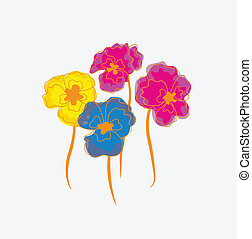 Pansies or Indian cress postcard flowers. Useful as pattern