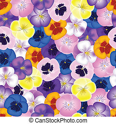 Seamless background with pansies