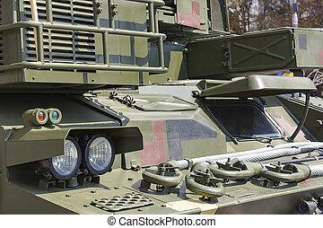 pansrad, billykta, -, specificera, fordon, främre del, militär
