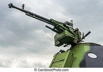 pansrad, (machine, kanon, rör, gun), specificera, fordon, militär