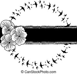 pansy and swallows - vector banner with pansies and swallows...