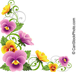 Pansy - Gentle floral design element with pansy