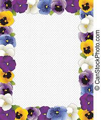 Pansy Flower Frame - Pansy flower frame, polka dot...