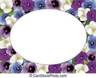 Pansy Flower Picture Frame, Oval - Pansy Flower Oval Picture...