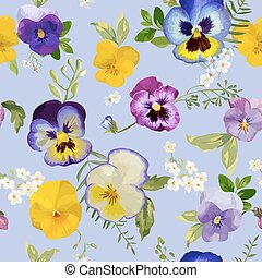 Pansy Flowers Background - Seamless Floral Shabby Chic Pattern - in vector