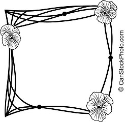pansy frame - vector frame with pansies in black and white ...