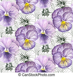 Pansy seamless pattern - Pansies painted in watercolors and...