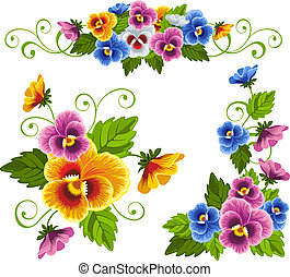 Pansy - Set of gentle floral patterns with pansy. Drawn with...